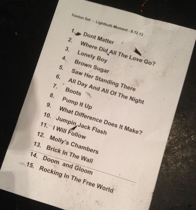 Setlist for the Fenton